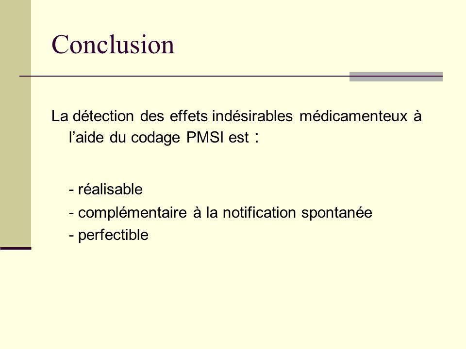 Conclusion La détection des effets indésirables médicamenteux à laide du codage PMSI est : - réalisable - complémentaire à la notification spontanée -