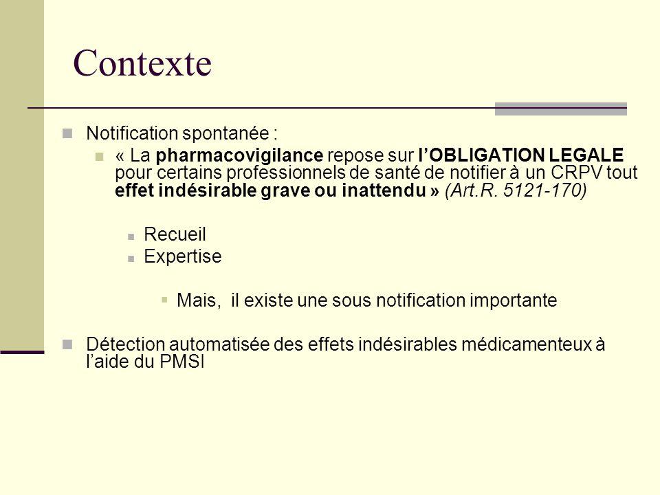 Contexte Notification spontanée : « La pharmacovigilance repose sur lOBLIGATION LEGALE pour certains professionnels de santé de notifier à un CRPV tou