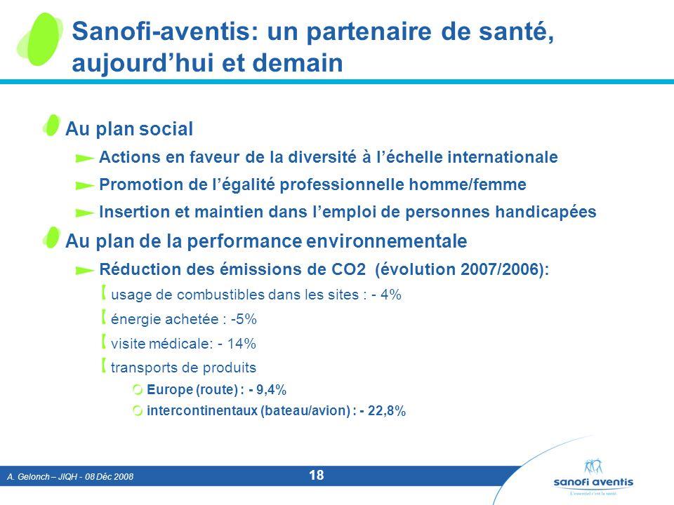 A. Gelonch – JIQH - 08 Déc 2008 18 Sanofi-aventis: un partenaire de santé, aujourdhui et demain Au plan social Actions en faveur de la diversité à léc