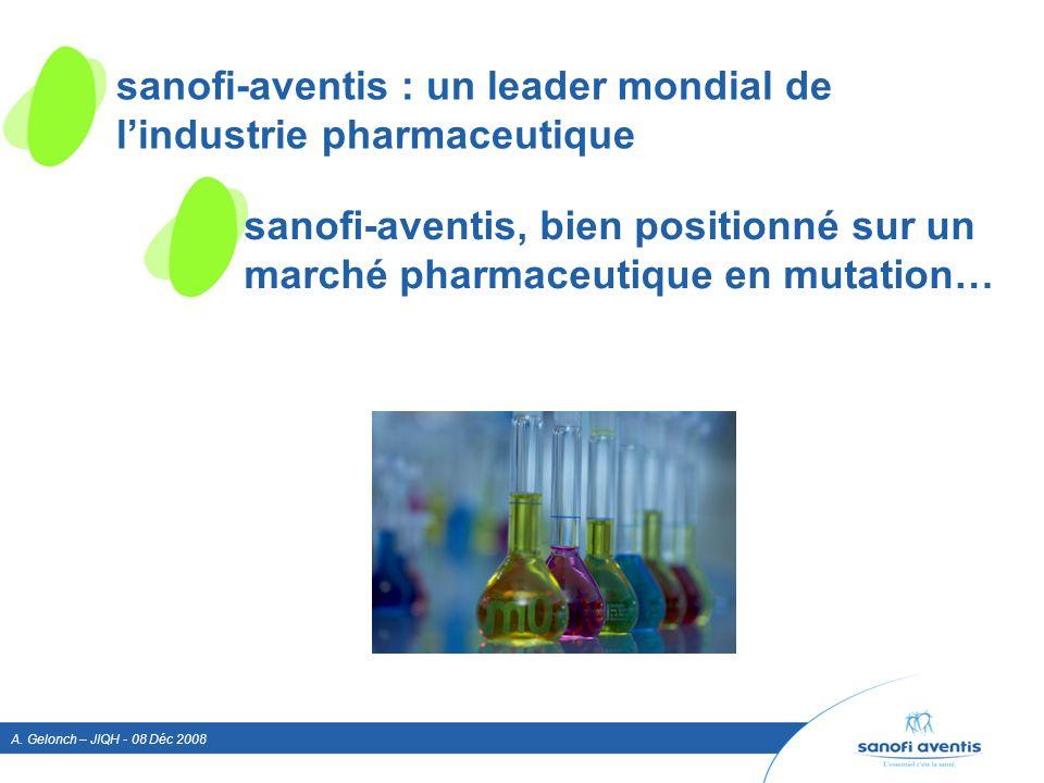 A. Gelonch – JIQH - 08 Déc 2008 sanofi-aventis, bien positionné sur un marché pharmaceutique en mutation… sanofi-aventis : un leader mondial de lindus