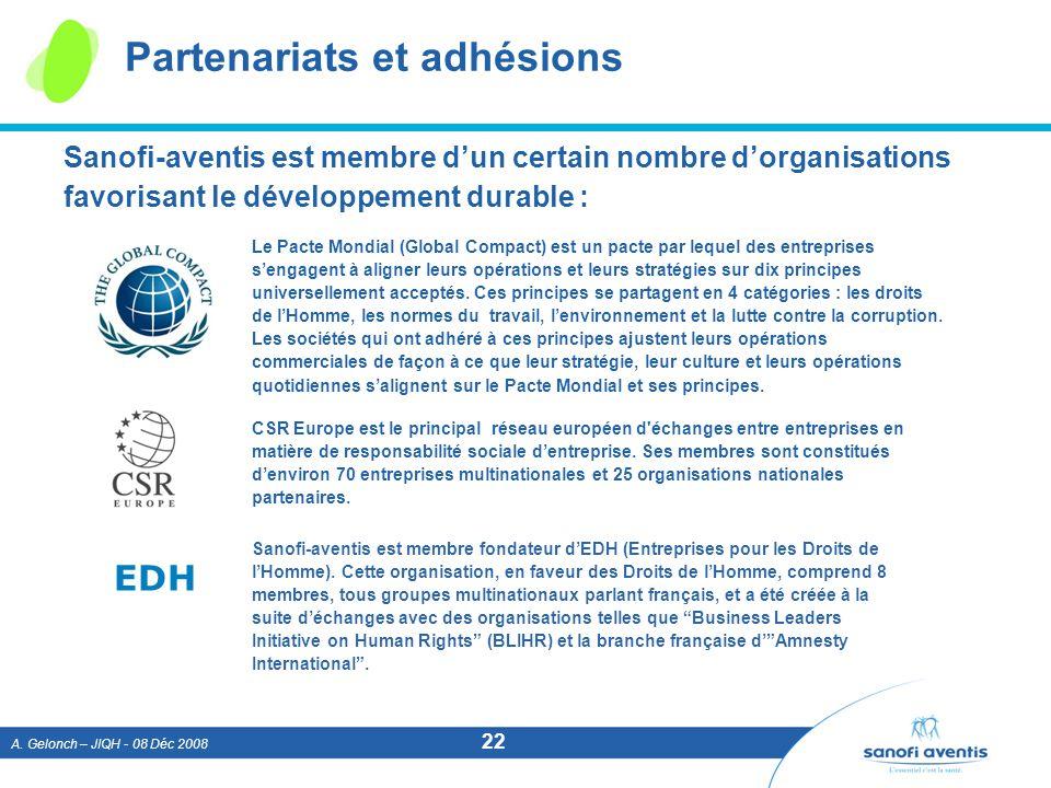 A. Gelonch – JIQH - 08 Déc 2008 22 Partenariats et adhésions Sanofi-aventis est membre dun certain nombre dorganisations favorisant le développement d
