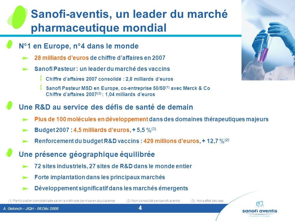 A. Gelonch – JIQH - 08 Déc 2008 4 Sanofi-aventis, un leader du marché pharmaceutique mondial N°1 en Europe, n°4 dans le monde 28 milliards deuros de c