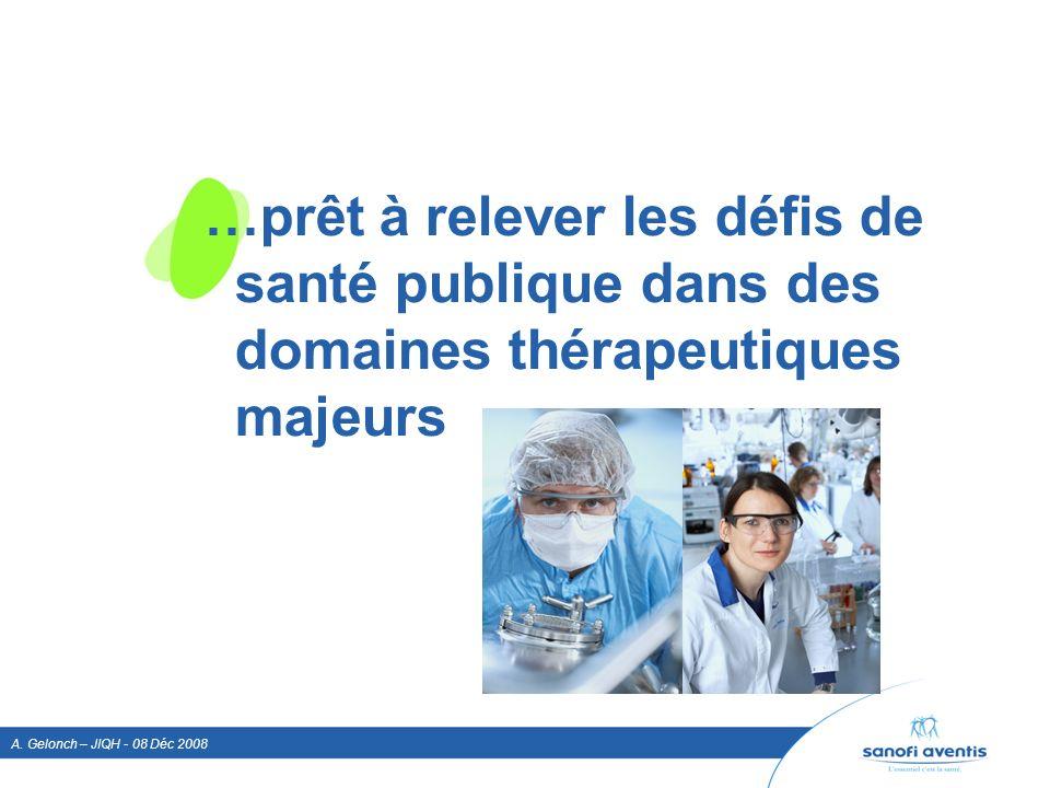 A. Gelonch – JIQH - 08 Déc 2008 …prêt à relever les défis de santé publique dans des domaines thérapeutiques majeurs