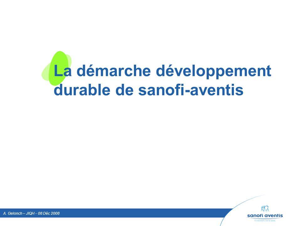 A. Gelonch – JIQH - 08 Déc 2008 La démarche développement durable de sanofi-aventis