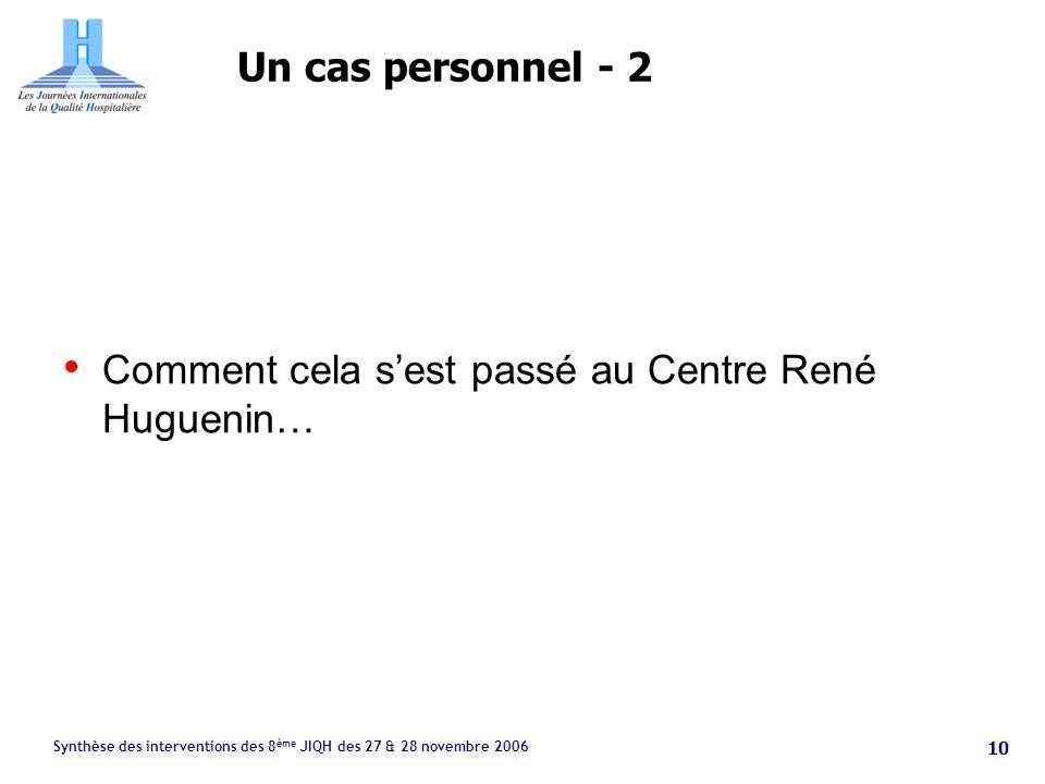 Synthèse des interventions des 8 ème JIQH des 27 & 28 novembre 2006 10 Un cas personnel - 2 Comment cela sest passé au Centre René Huguenin…