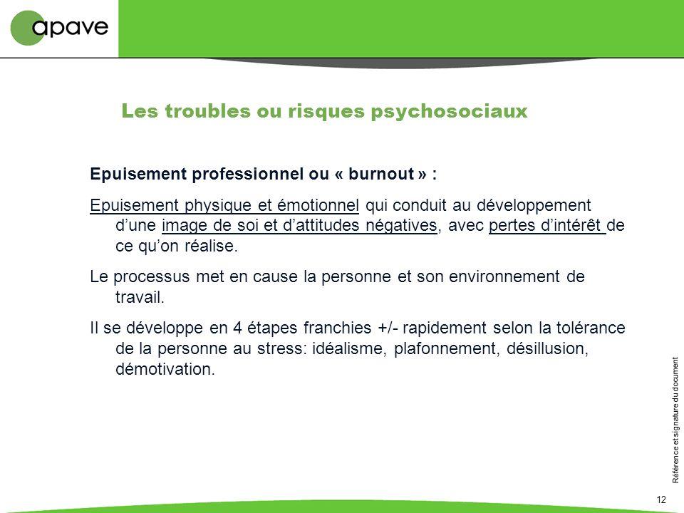 Référence et signature du document 12 Epuisement professionnel ou « burnout » : Epuisement physique et émotionnel qui conduit au développement dune im