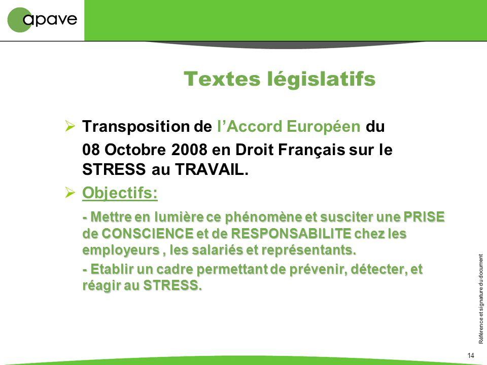 Référence et signature du document 14 Textes législatifs Transposition de lAccord Européen du 08 Octobre 2008 en Droit Français sur le STRESS au TRAVA