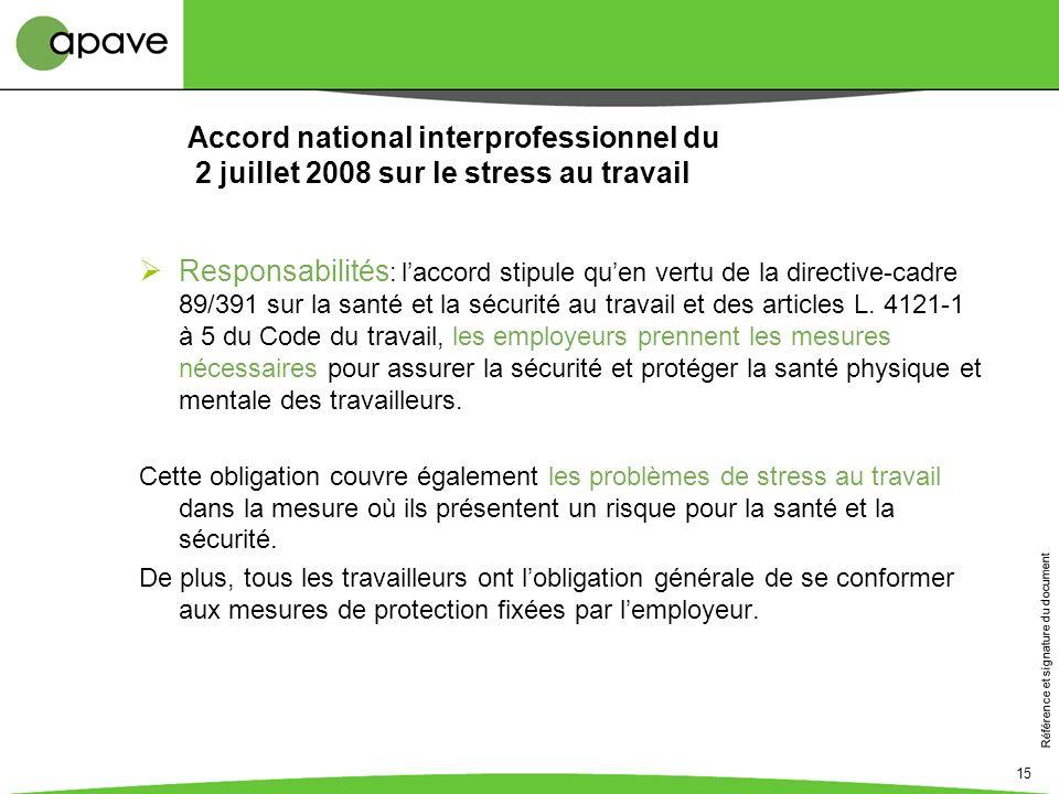 Référence et signature du document 15 Accord national interprofessionnel du 2 juillet 2008 sur le stress au travail Responsabilités : laccord stipule