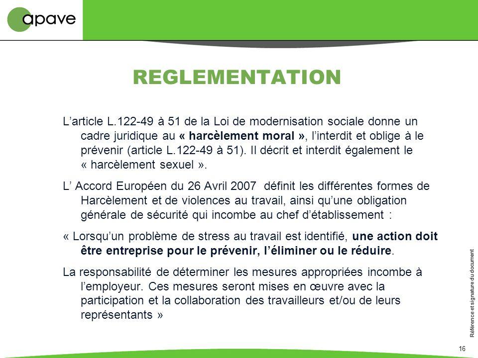 Référence et signature du document 16 REGLEMENTATION Larticle L.122-49 à 51 de la Loi de modernisation sociale donne un cadre juridique au « harcèleme