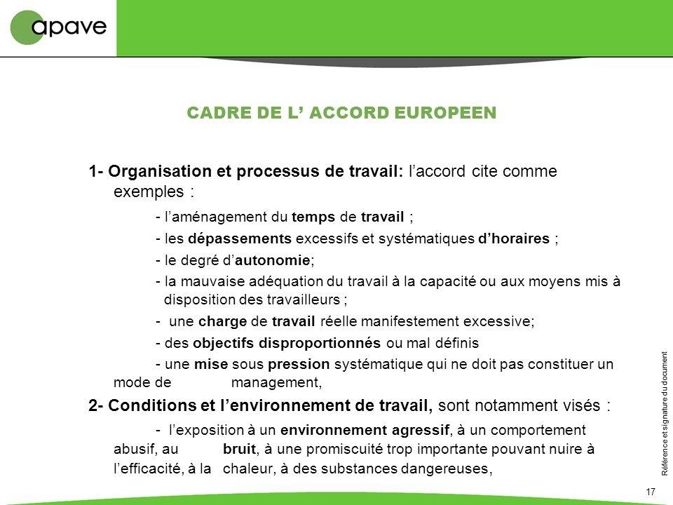 Référence et signature du document 17 CADRE DE L ACCORD EUROPEEN 1- Organisation et processus de travail: laccord cite comme exemples : - laménagement