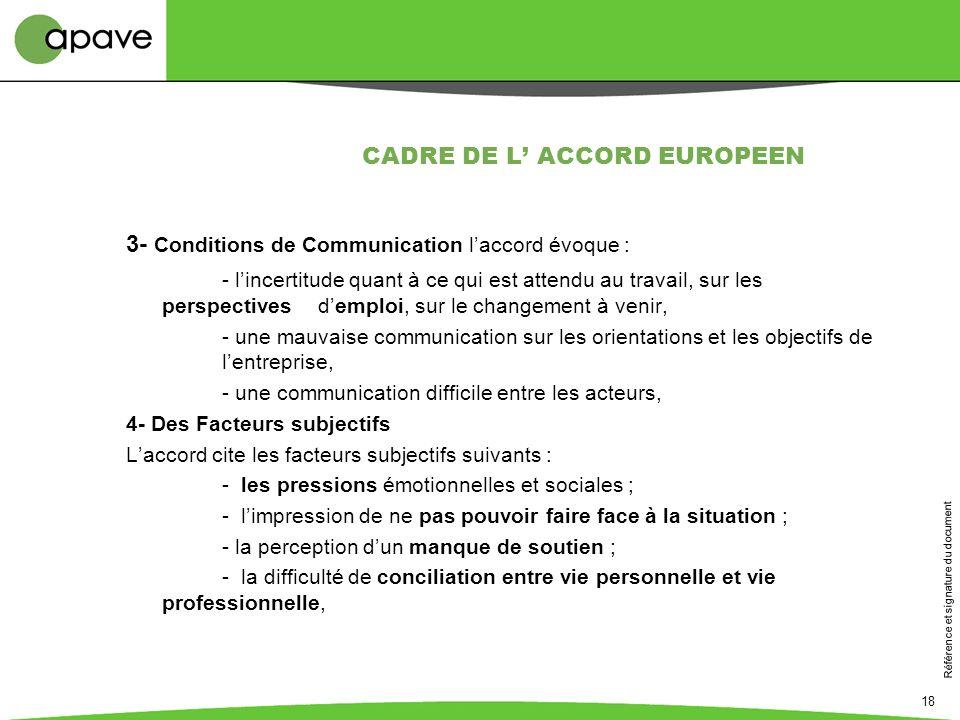 Référence et signature du document 18 CADRE DE L ACCORD EUROPEEN 3- Conditions de Communication laccord évoque : - lincertitude quant à ce qui est att