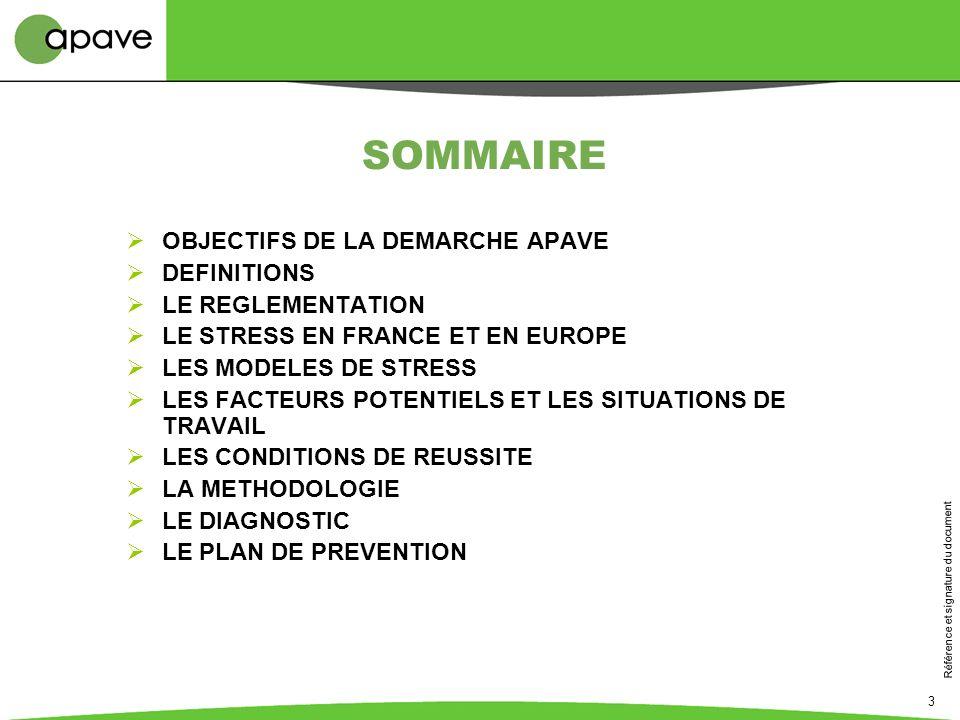 Référence et signature du document 3 SOMMAIRE OBJECTIFS DE LA DEMARCHE APAVE DEFINITIONS LE REGLEMENTATION LE STRESS EN FRANCE ET EN EUROPE LES MODELE