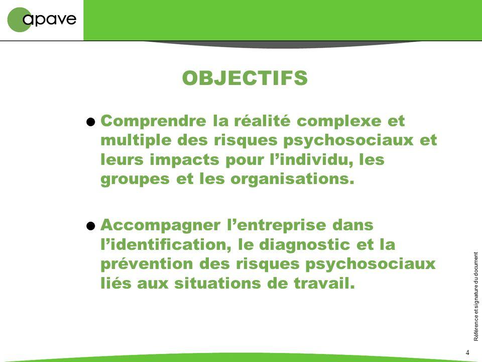 Référence et signature du document 4 OBJECTIFS Comprendre la réalité complexe et multiple des risques psychosociaux et leurs impacts pour lindividu, l