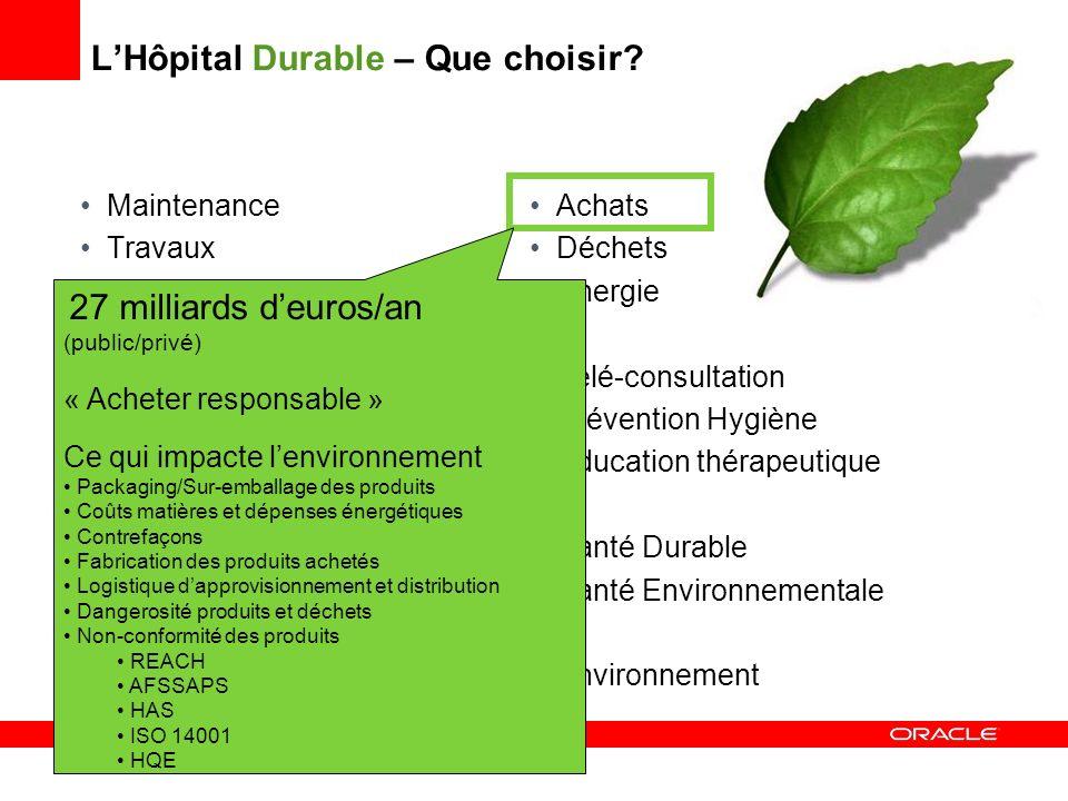 LHôpital Durable – Que choisir? Maintenance Travaux Approvisionnement Biomédical Sécurité Hôtellerie Restauration Informatique Télécoms Transports (pe