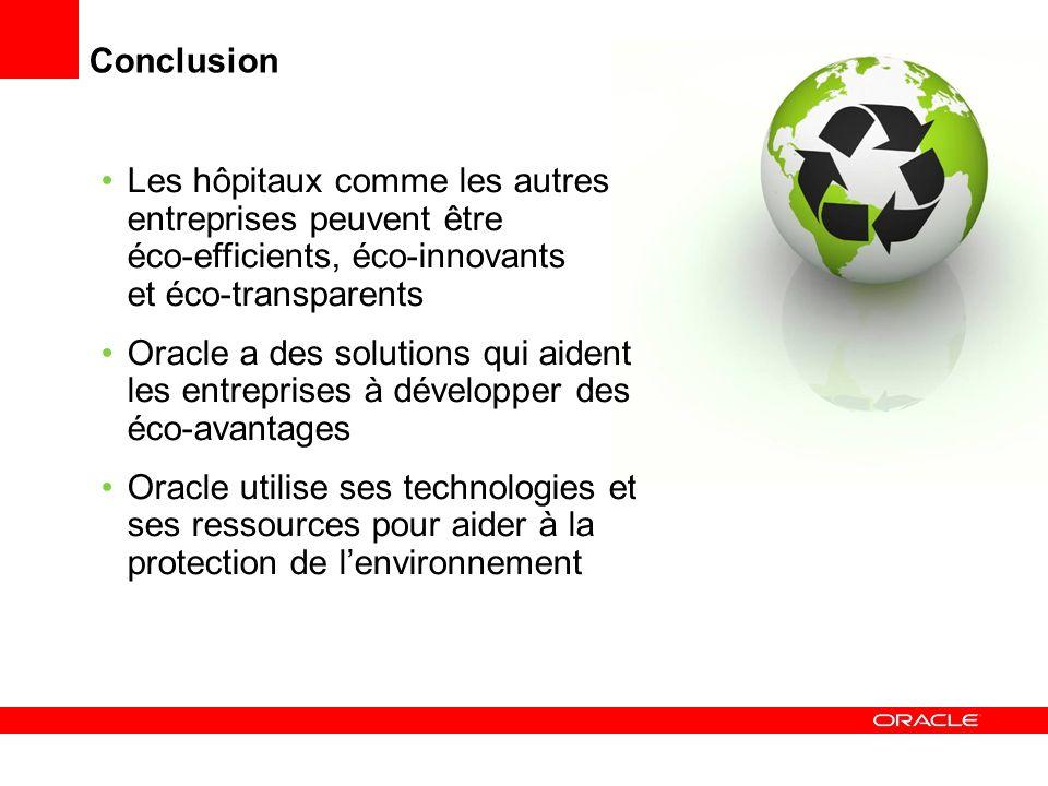Conclusion Les hôpitaux comme les autres entreprises peuvent être éco-efficients, éco-innovants et éco-transparents Oracle a des solutions qui aident les entreprises à développer des éco-avantages Oracle utilise ses technologies et ses ressources pour aider à la protection de lenvironnement