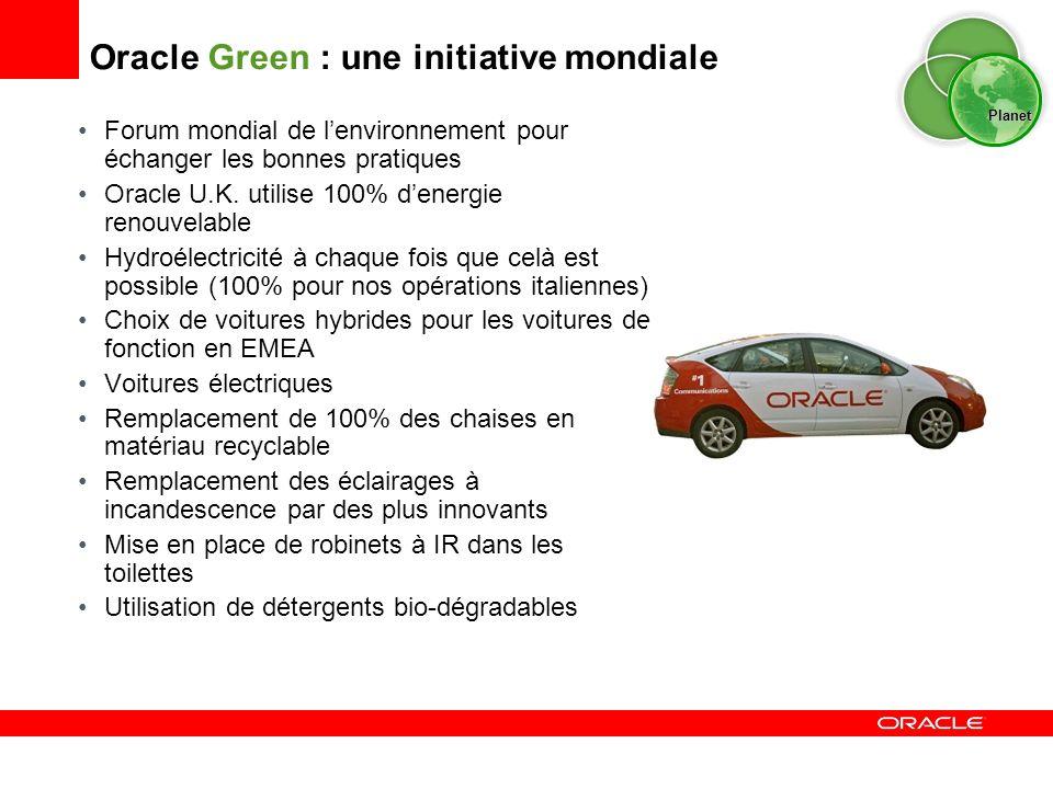 Oracle Green : une initiative mondiale Forum mondial de lenvironnement pour échanger les bonnes pratiques Oracle U.K. utilise 100% denergie renouvelab