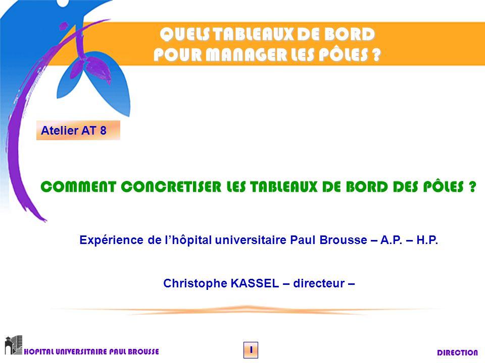 QUELS TABLEAUX DE BORD POUR MANAGER LES PÔLES ? DIRECTION HOPITAL UNIVERSITAIRE PAUL BROUSSE 1 Atelier AT 8 COMMENT CONCRETISER LES TABLEAUX DE BORD D