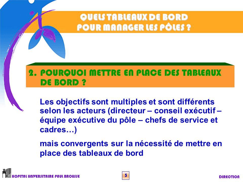 QUELS TABLEAUX DE BORD POUR MANAGER LES PÔLES .