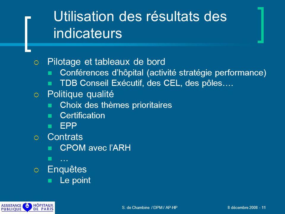 S. de Chambine / DPM / AP-HP 8 décembre 2008 - 11 Utilisation des résultats des indicateurs Pilotage et tableaux de bord Conférences dhôpital (activit