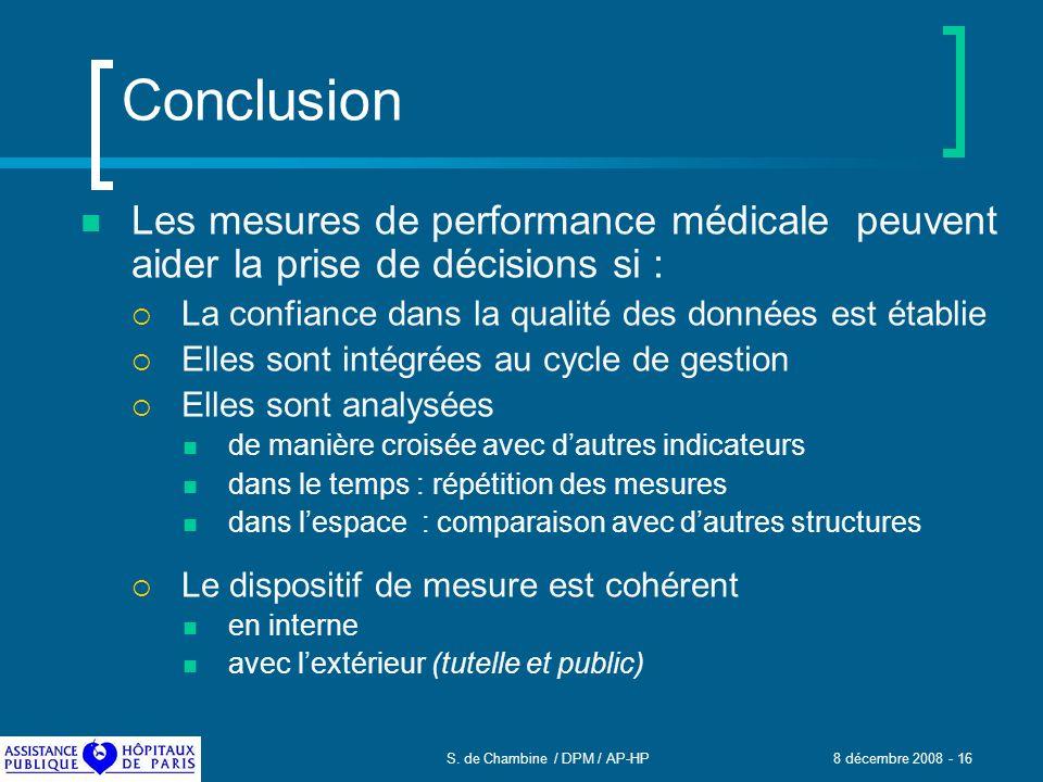 S. de Chambine / DPM / AP-HP 8 décembre 2008 - 16 Conclusion Les mesures de performance médicale peuvent aider la prise de décisions si : La confiance