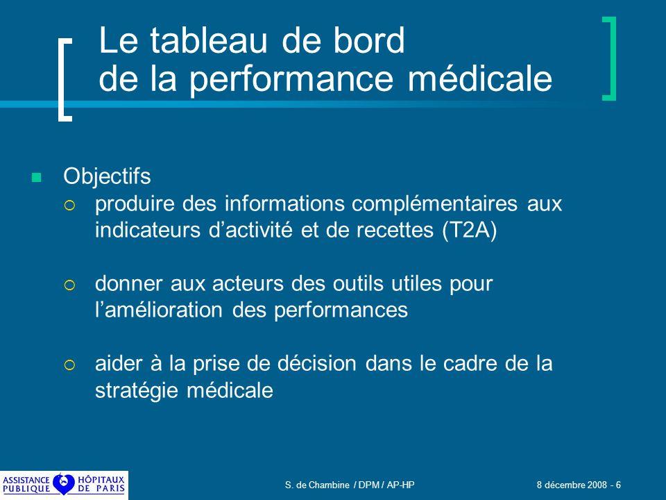 S. de Chambine / DPM / AP-HP 8 décembre 2008 - 6 Le tableau de bord de la performance médicale Objectifs produire des informations complémentaires aux