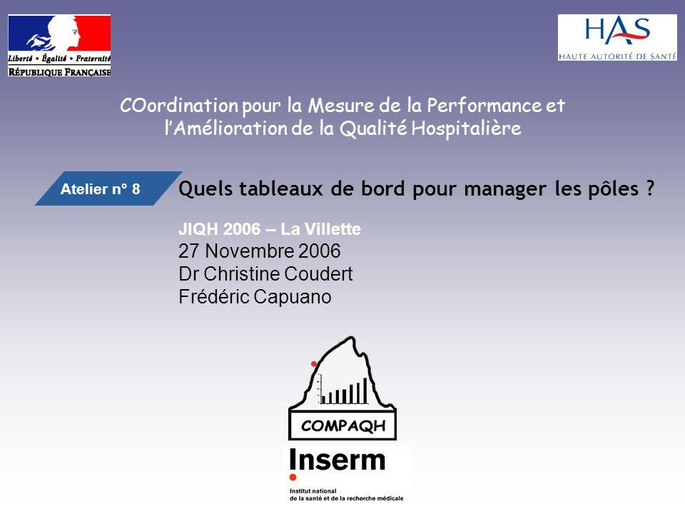 COordination pour la Mesure de la Performance et lAmélioration de la Qualité Hospitalière Quels tableaux de bord pour manager les pôles .