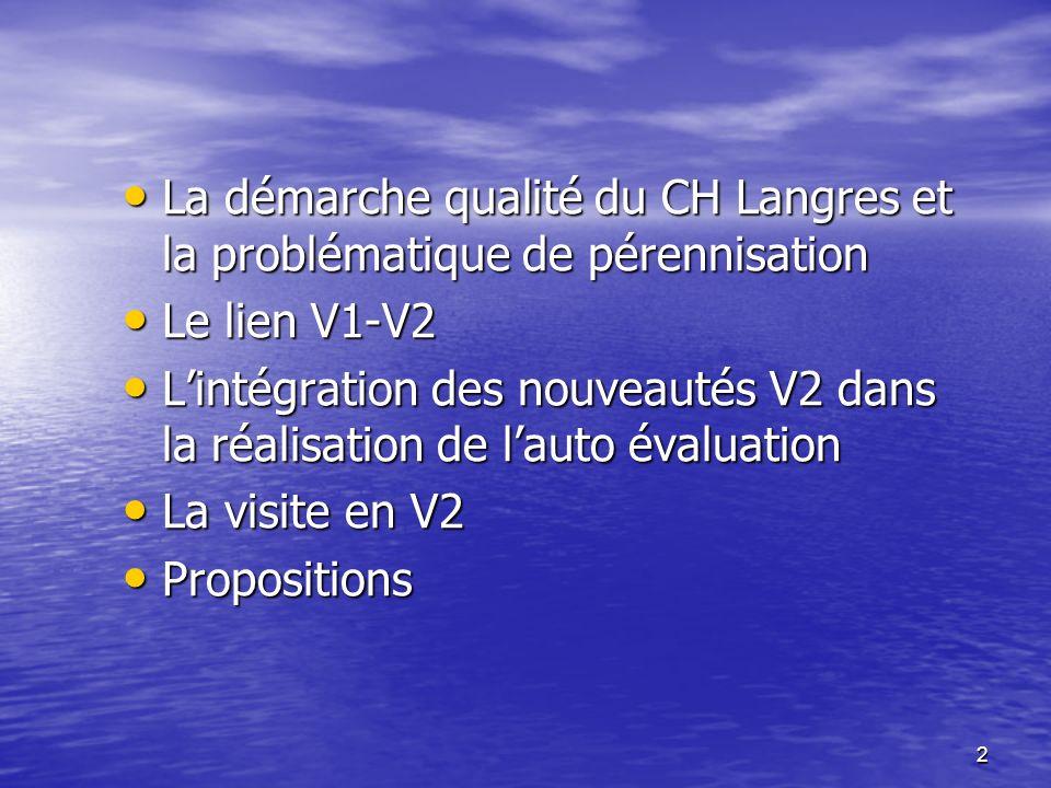 2 La démarche qualité du CH Langres et la problématique de pérennisation La démarche qualité du CH Langres et la problématique de pérennisation Le lie