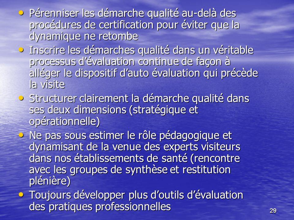 29 Pérenniser les démarche qualité au-delà des procédures de certification pour éviter que la dynamique ne retombe Pérenniser les démarche qualité au-