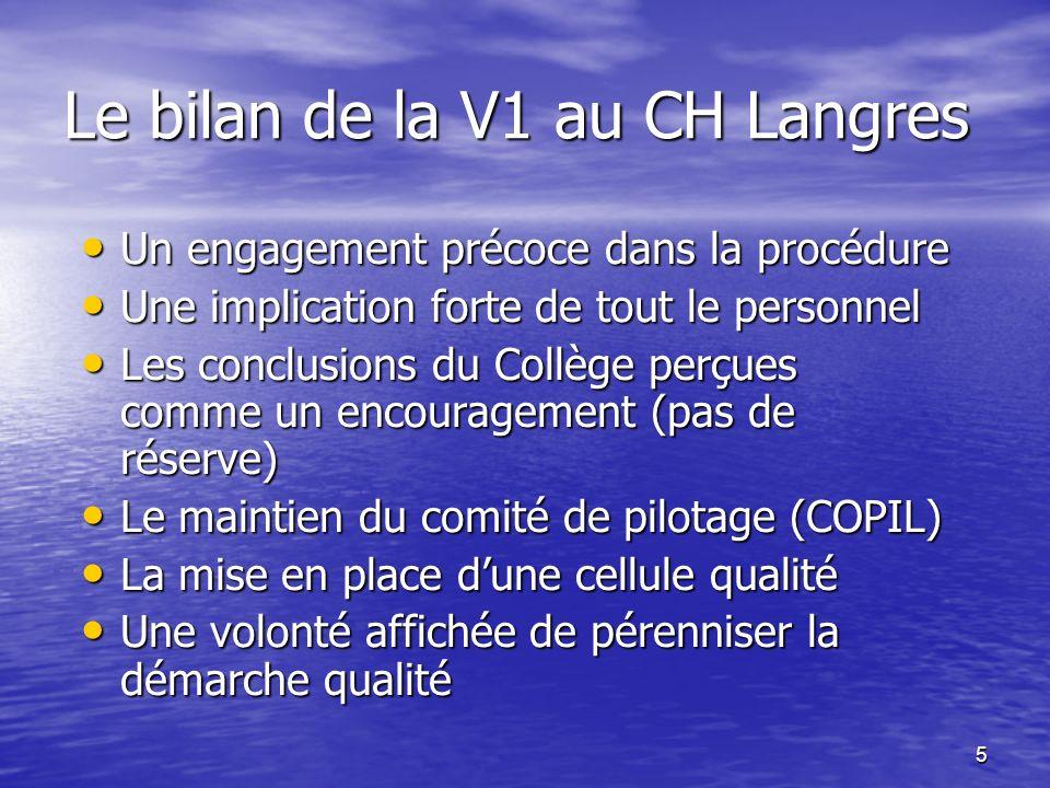 5 Le bilan de la V1 au CH Langres Un engagement précoce dans la procédure Un engagement précoce dans la procédure Une implication forte de tout le per
