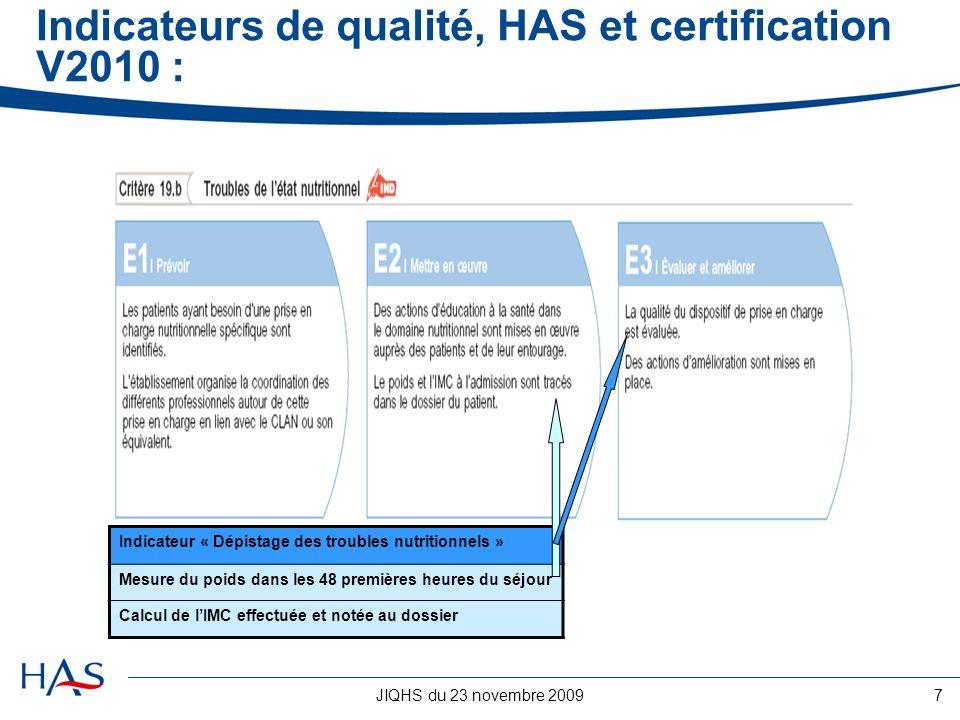 JIQHS du 23 novembre 20098 Indicateurs de qualité, HAS et certification V2010 : -Les indicateurs obligatoires communs à tous les établissements, -Les indicateurs optionnels à choisir par létablissement parmi un panel dindicateurs testés et validés par des instances reconnues (équipes de recherche, sociétés savantes, collèges professionnels, etc.) et mis à disposition des établissements (les indicateurs obligatoires et optionnels seront recueillis annuellement par les établissements et saisis sur la plateforme QUALHAS), -Les indicateurs dits « de terrain » développés par les établissements.