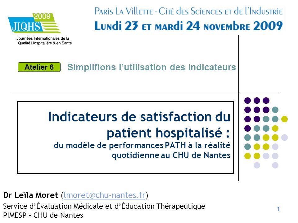 1 Indicateurs de satisfaction du patient hospitalisé : du modèle de performances PATH à la réalité quotidienne au CHU de Nantes Dr Leïla Moret (lmoret