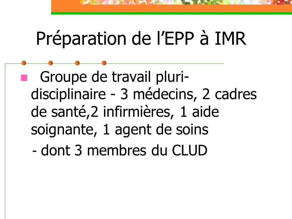 Préparation de lEPP à IMR Groupe de travail pluri- disciplinaire - 3 médecins, 2 cadres de santé,2 infirmières, 1 aide soignante, 1 agent de soins - dont 3 membres du CLUD
