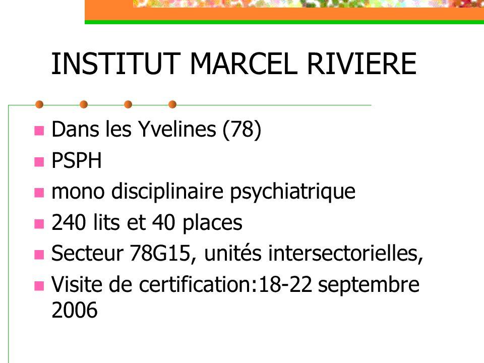 INSTITUT MARCEL RIVIERE Dans les Yvelines (78) PSPH mono disciplinaire psychiatrique 240 lits et 40 places Secteur 78G15, unités intersectorielles, Visite de certification:18-22 septembre 2006