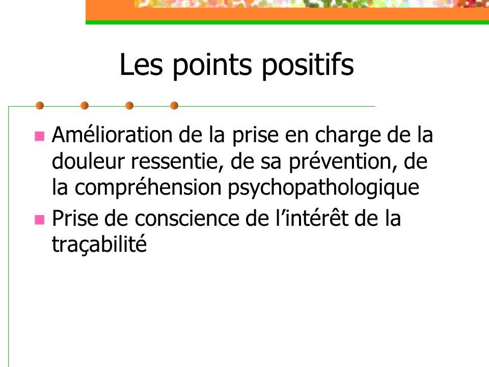 Les points positifs Amélioration de la prise en charge de la douleur ressentie, de sa prévention, de la compréhension psychopathologique Prise de conscience de lintérêt de la traçabilité