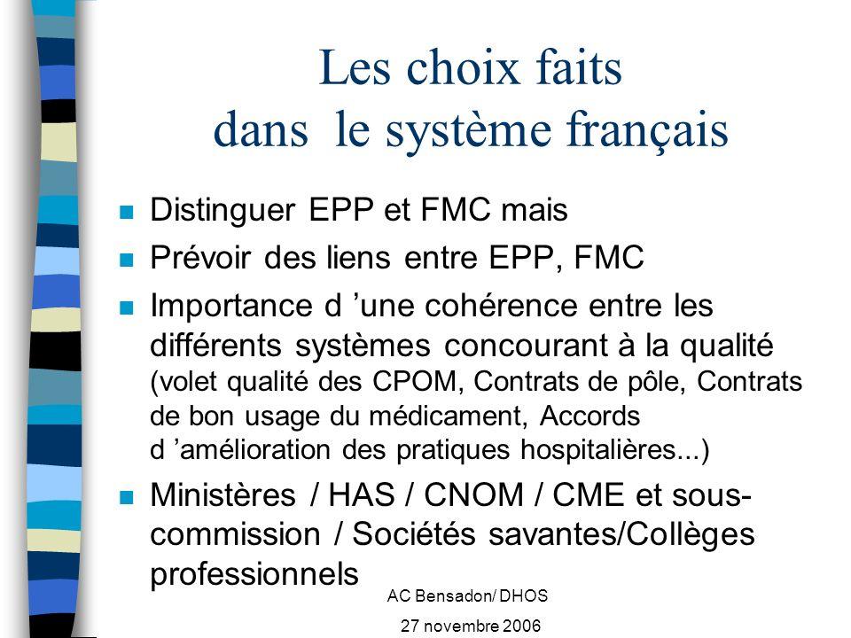 AC Bensadon/ DHOS 27 novembre 2006 Panorama européen certification, accréditation (1) n Rapport Y.