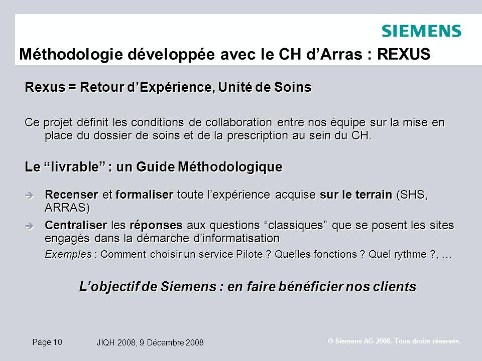 Page 10 JIQH 2008, 9 Décembre 2008 © Siemens AG 2008. Tous droits réservés. Méthodologie développée avec le CH dArras : REXUS Rexus = Retour dExpérien