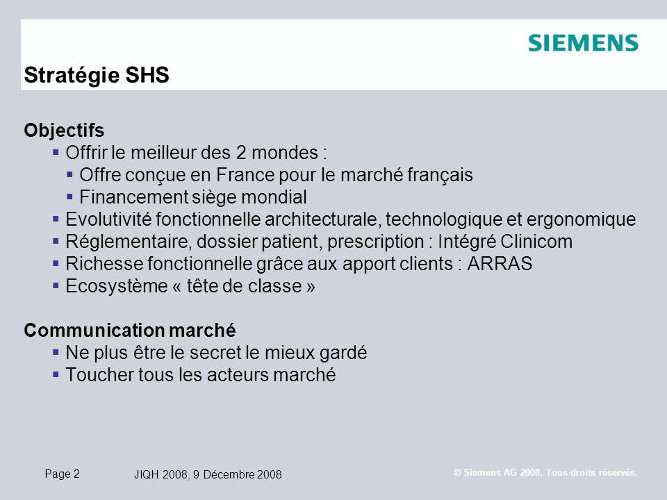 Page 2 JIQH 2008, 9 Décembre 2008 © Siemens AG 2008. Tous droits réservés. Stratégie SHS Objectifs Offrir le meilleur des 2 mondes : Offre conçue en F