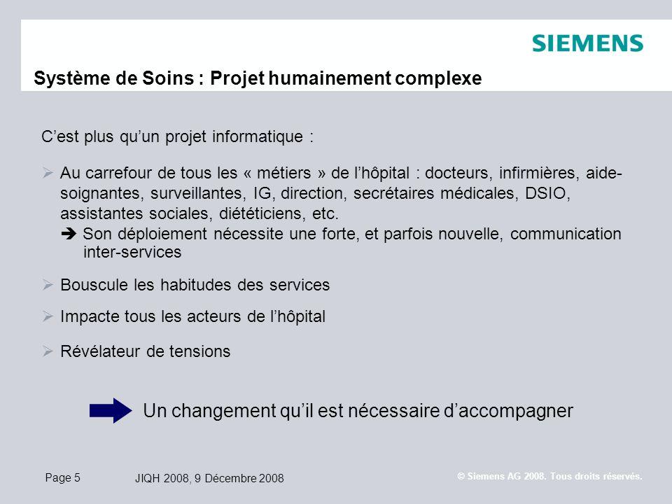 Page 5 JIQH 2008, 9 Décembre 2008 © Siemens AG 2008. Tous droits réservés. Cest plus quun projet informatique : Au carrefour de tous les « métiers » d