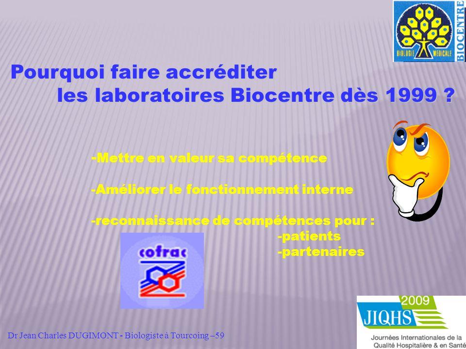 Pourquoi faire accréditer les laboratoires Biocentre dès 1999 ? - Mettre en valeur sa compétence -Améliorer le fonctionnement interne -reconnaissance