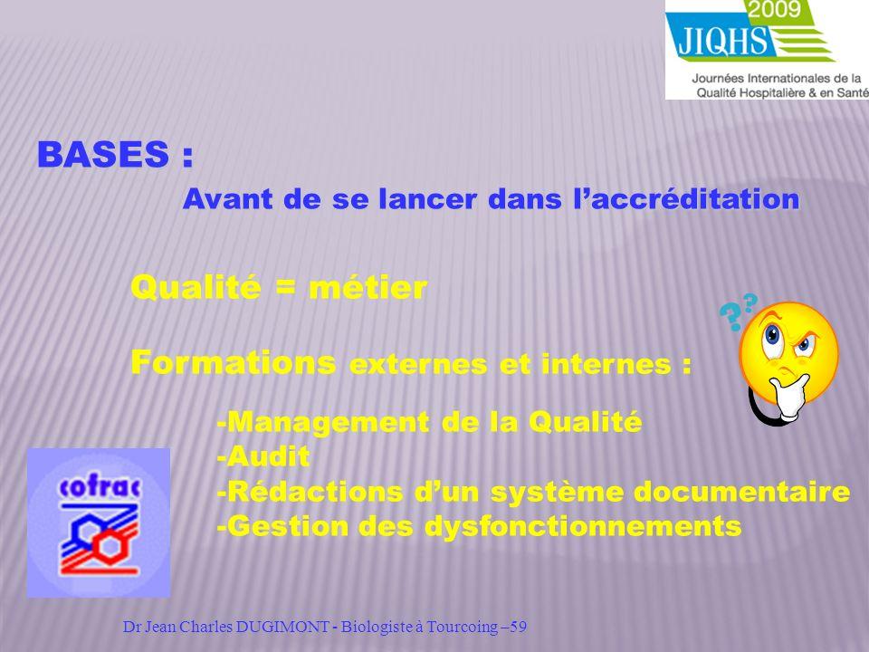 BASES : Avant de se lancer dans laccréditation Avant de se lancer dans laccréditation Qualité = métier Formations externes et internes : -Management d
