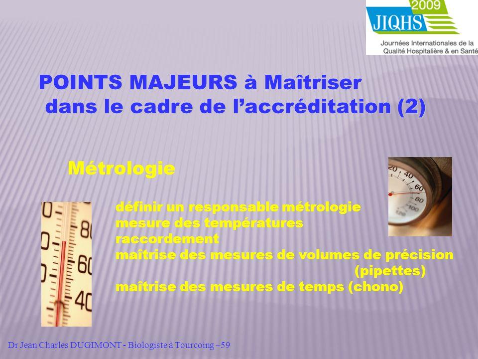 POINTS MAJEURS à Maîtriser dans le cadre de laccréditation (2) dans le cadre de laccréditation (2) Métrologie définir un responsable métrologie mesure