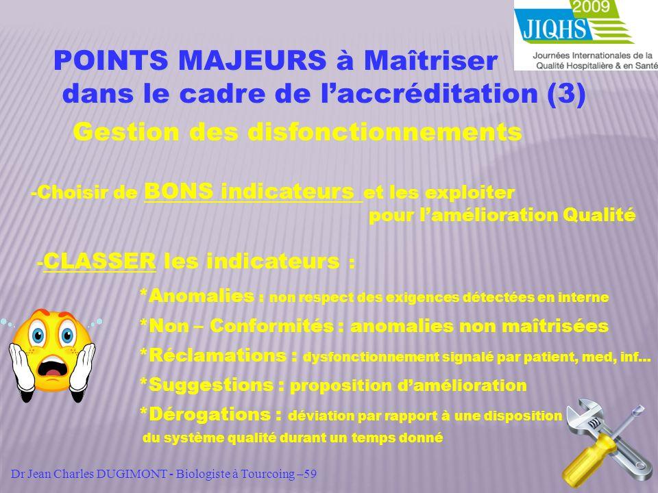 POINTS MAJEURS à Maîtriser dans le cadre de laccréditation (3) dans le cadre de laccréditation (3) Gestion des disfonctionnements -Choisir de BONS ind
