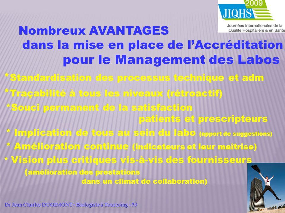 Nombreux AVANTAGES dans la mise en place de lAccréditation dans la mise en place de lAccréditation pour le Management des Labos * Standardisation des