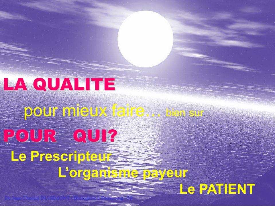 Session Qualité S4 CORATA Toulouse 19- 21 oct 2005 pour mieux faire… bien sur POUR QUI? Le Prescripteur Lorganisme payeur Le PATIENT LA QUALITE Dr Jea