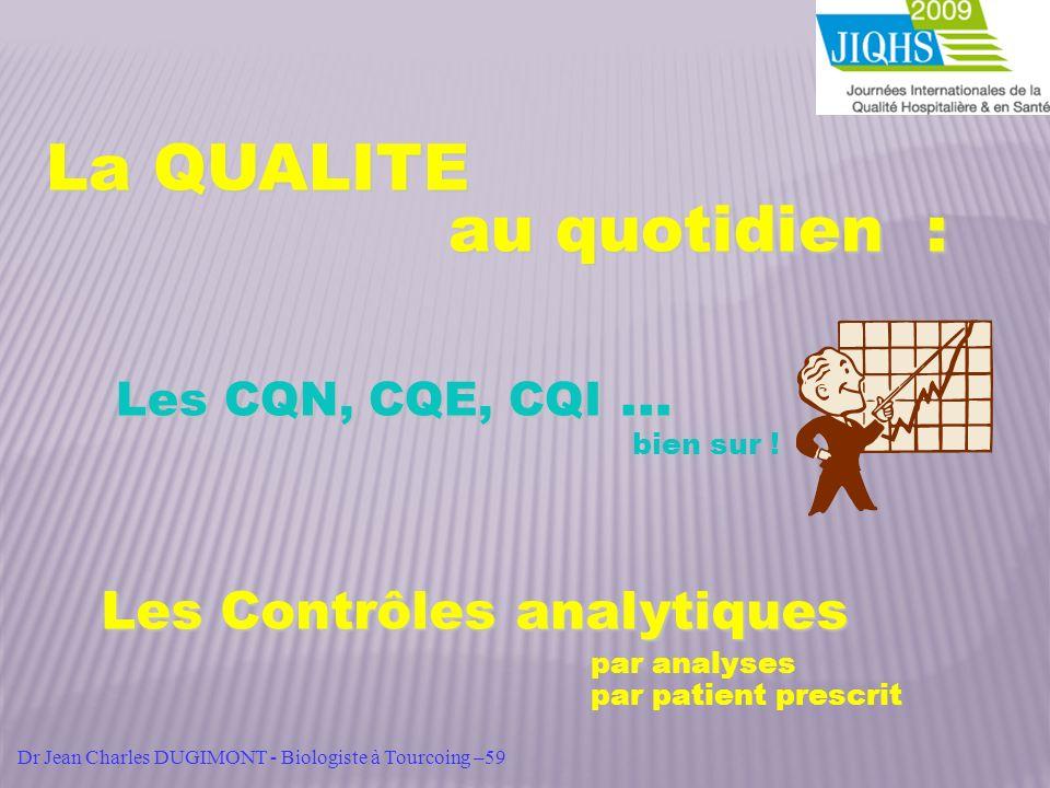 La QUALITE au quotidien : Les CQN, CQE, CQI … bien sur ! Les Contrôles analytiques par analyses par patient prescrit Dr Jean Charles DUGIMONT - Biolog