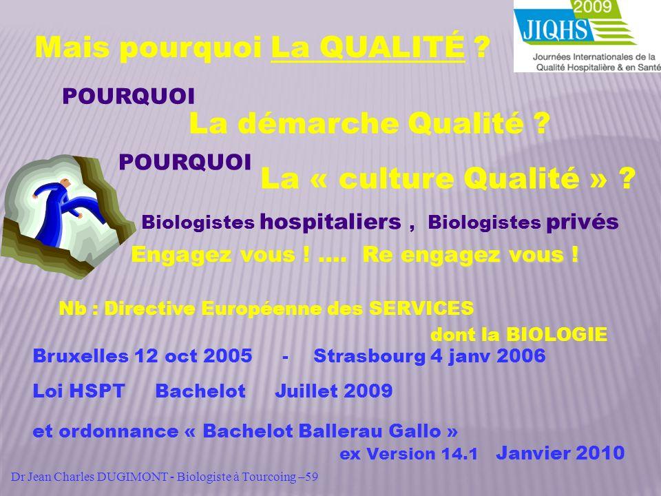 Mais pourquoi La QUALITÉ ? La démarche Qualité ? La « culture Qualité » ? POURQUOI Nb : Directive Européenne des SERVICES dont la BIOLOGIE Bruxelles 1