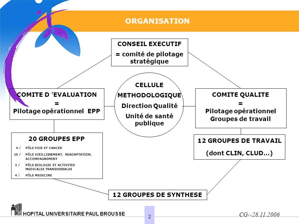 2 HOPITAL UNIVERSITAIRE PAUL BROUSSE ORGANISATION CONSEIL EXECUTIF = comité de pilotage stratégique CELLULE METHODOLOGIQUE Direction Qualité Unité de santé publique COMITE D EVALUATION = Pilotage opérationnel EPP COMITE QUALITE = Pilotage opérationnel Groupes de travail 20 GROUPES EPP 4 /PÔLE FOIE ET CANCER 10 /PÔLE VIEILLISSEMENT, READAPTATION, ACCOMPAGNEMENT 2 /PÔLE BIOLOGIE ET ACTIVITES MEDICALES TRANSVERSALES 4 /PÔLE MEDECINE 12 GROUPES DE TRAVAIL (dont CLIN, CLUD…) 12 GROUPES DE SYNTHESE CG--28.11.2006
