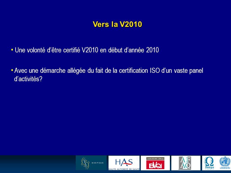 17 Vers la V2010 Une volonté dêtre certifié V2010 en début dannée 2010 Avec une démarche allégée du fait de la certification ISO dun vaste panel dactivités?