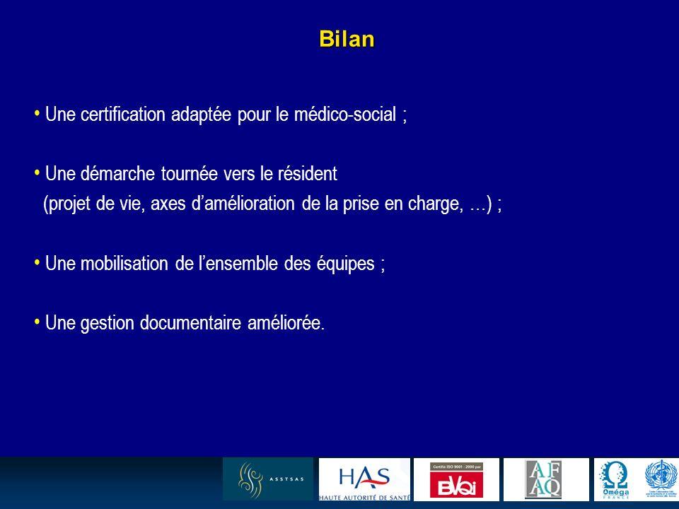 19 Bilan Une certification adaptée pour le médico-social ; Une démarche tournée vers le résident (projet de vie, axes damélioration de la prise en cha