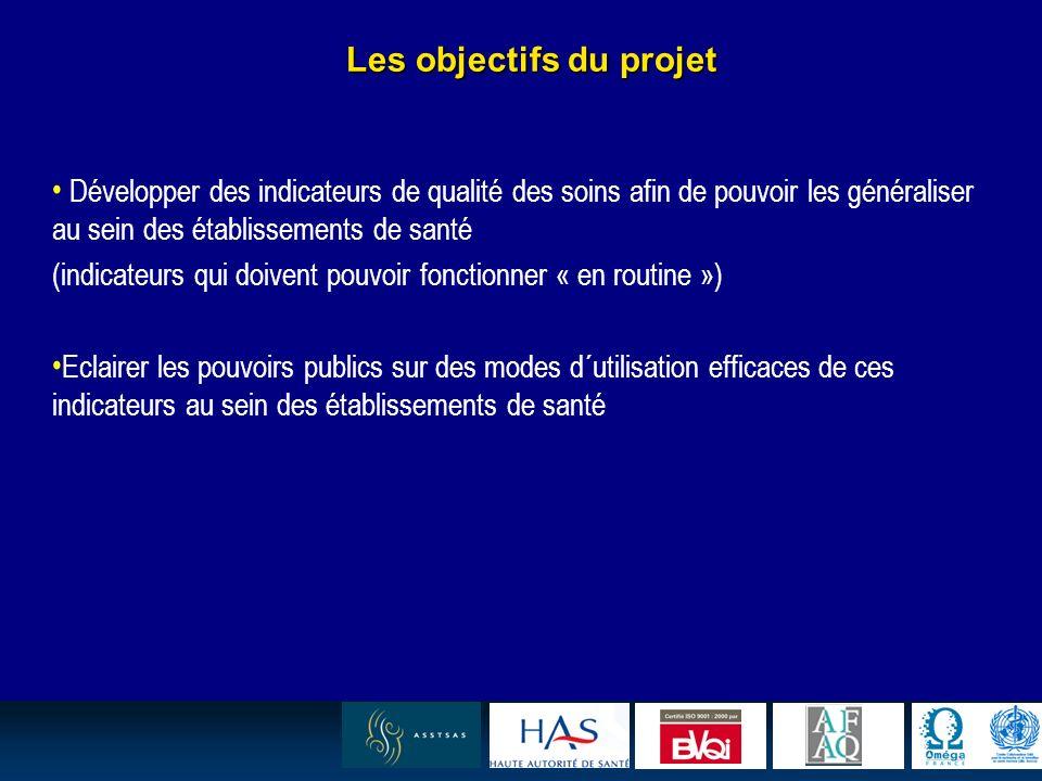 22 Les objectifs du projet Développer des indicateurs de qualité des soins afin de pouvoir les généraliser au sein des établissements de santé (indica